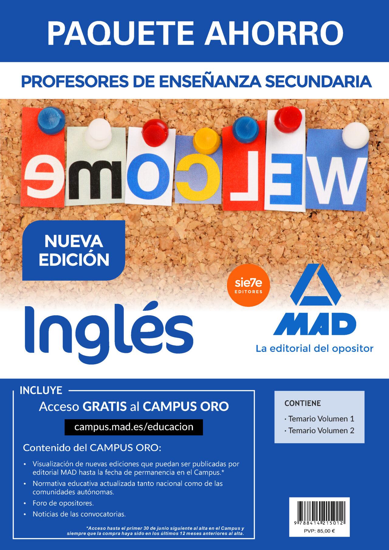 paquete ahorro inglés cuerpo de profesores de enseñanza secundaria-9788414215012