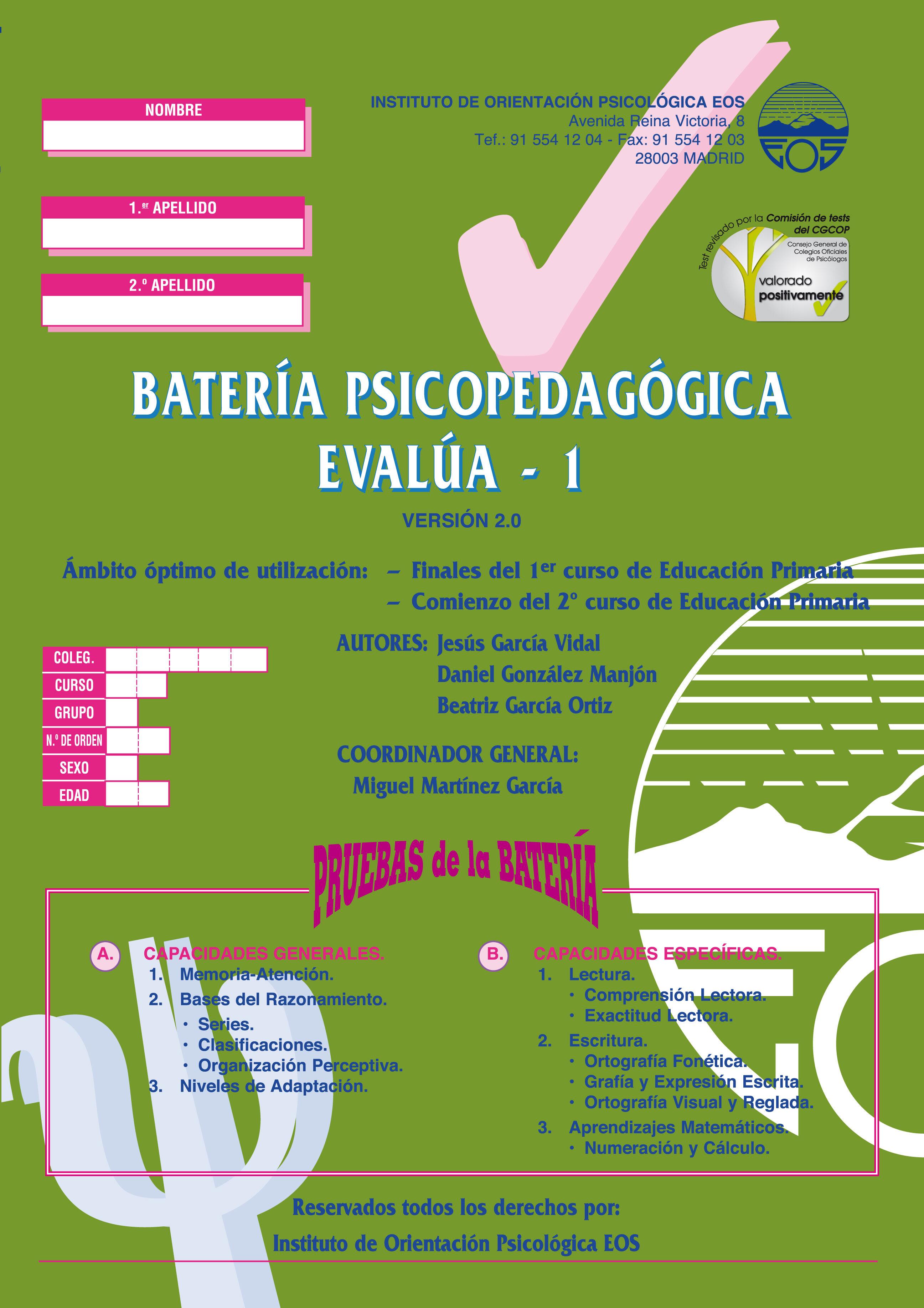 Bateria Psicopedagogica Evalua 1 por Jesus Et Al. Garcia Vidal epub