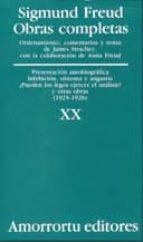 obras completas (vol. xx): presentacion autobiografia inhibicion, sintonia y angustia ¿pueden los legos ejercer el analisis? y otras obras (1925-1926)-sigmund freud-9789505185962