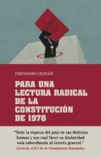 para una lectura radical de la constitución de 1978 fernando olivan 9788416020782