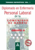 DIPLOMADO EN ENFERMERIA GRUPO II PERSONAL LABORAL DE LA COMUNIDAD DE MADRID: TEMARIO ESPECIFICO VOLUMEN I - 9788467617832 - VV.AA.