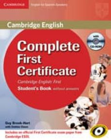 Descargar audiolibros en español gratis COMPLETE FIRST CERTIFICATE FOR SPANISH SPEAKERS STUDENT S PACK WITHOUT ANSWERS (STUDENT S BOOK WITH CD-ROM AND WORKBOOK WITH (Spanish Edition) ePub CHM PDF 9788483238332 de