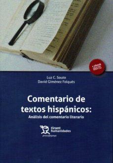 Descargar COMENTARIO DE TEXTOS HISPANICOS: ANALISIS DEL COMENTARIO LITERARIO gratis pdf - leer online